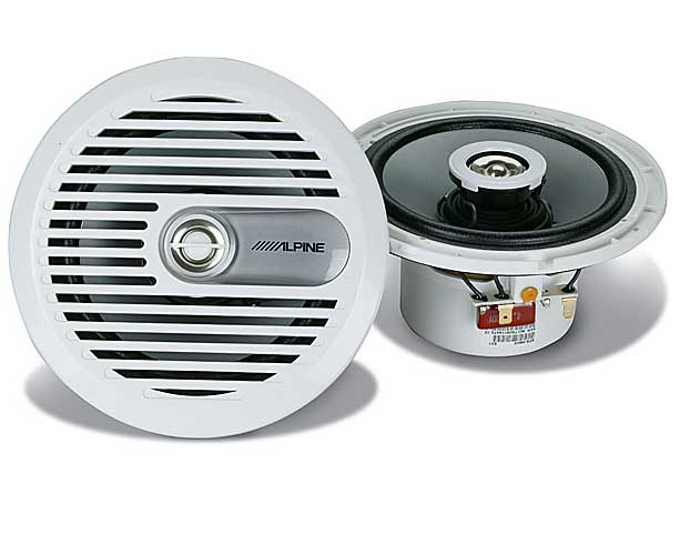 Alpine SPS-M600 6-1/2 2-Way Coaxial Marine Speakers.